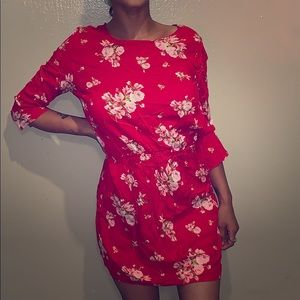 H & M red floral dress